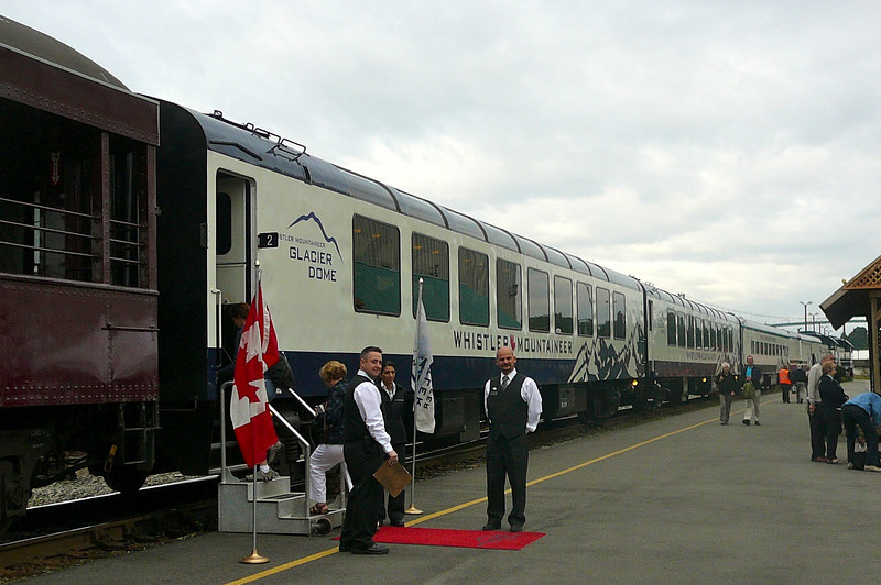 "The ""Mountaineer"" has two levels of Train Cars/Service... ""Whistler Service"", the standard option & ""Whistler Dome Service"", the ""1st Class"" option. Here ""Dome"" guests receive a Red Carpet welcome. **Note** The ""Dome Service"" is now a 2 level car."
