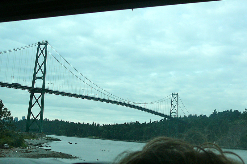 "As the Train leaves from North Vancouver, we got to pass under Vancouver's famous ""Lions Gate"" bridge... not hard to tell it's modeled after San Francisco's ""Golden Gate"" bridge. :-)"