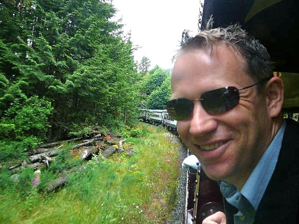 There's Shawn enjoying the fresh air and views from the Heritage Observation car.