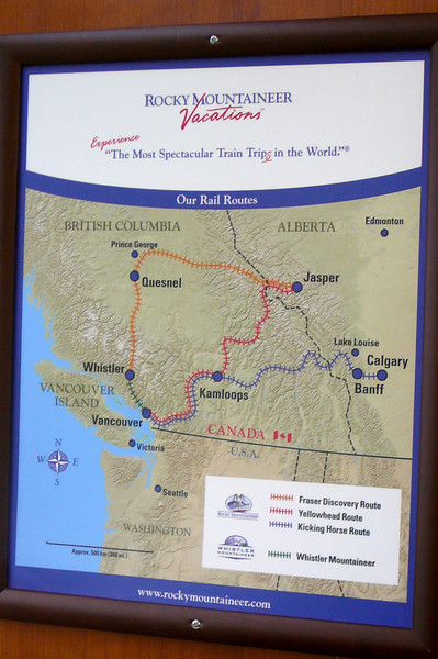 "Here's a Map that shares the great Journeys you can take on the ""Rocky Mountaineer"" through the Canadian Rockies... definitely some highly recommended train rides!"