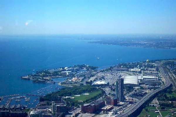 """There's a view of Lake Ontario from high above Toronto in the """"CN Tower"""""""