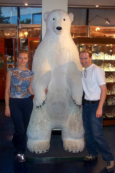 There we are showing off our Polar Bear handling abilities... we had he pretty tamed! :-)