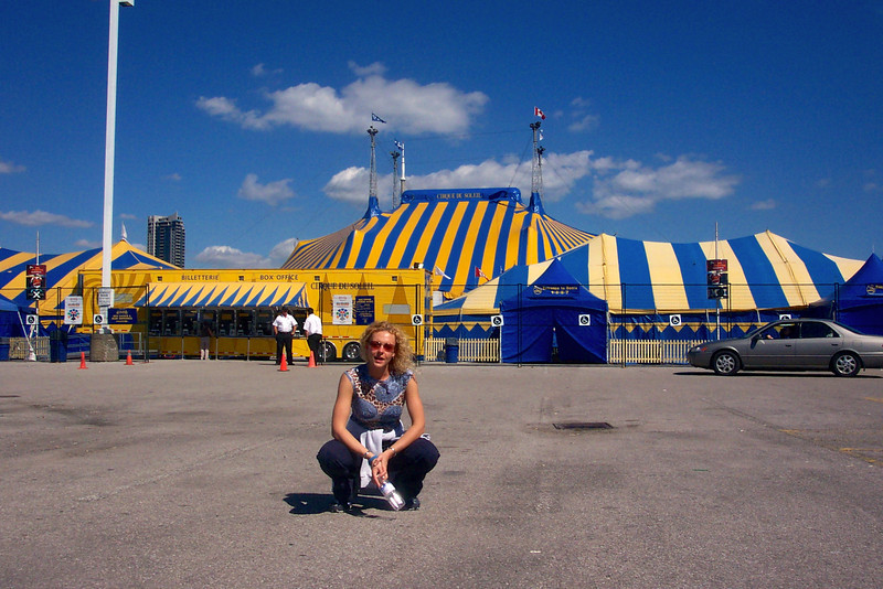 "There's Nancy hanging outside the ""Big Top"" in anticipation of seeing Cirque Du Soleil's ""Alegria""... and what a great show it ended up being!"