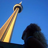 "Looks like Nancy is admiring the magnificence of Toronto's World Famous ""CN Tower""."
