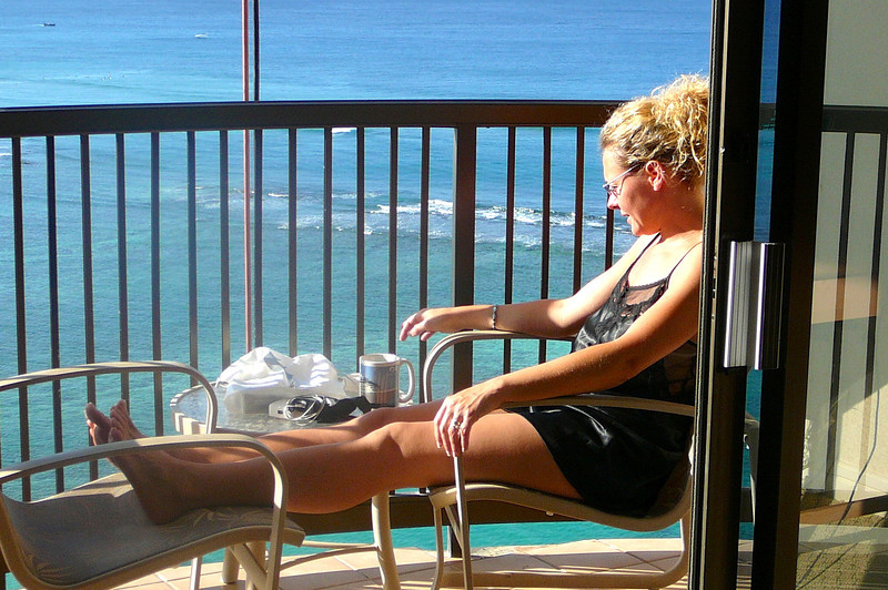 There's Nancy enjoying her morning Coffee amongst some Beautiful surroundings on a Spectacular Honolulu day.