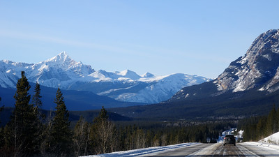 Driving north towards Jasper on the Ice fields Parkway. Taken by my ever so polite back seat driver.