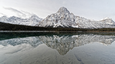 Waterfowl Lake,  Howes Peak (left) with Mt Chephren