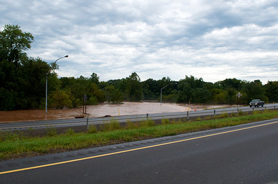 Inundated onramp to I-180 westbound from Broad Street, Montoursville