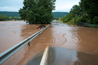 Loyalsock Creek overflowing onto Warrensville Road just north of I-180 in Montoursville.
