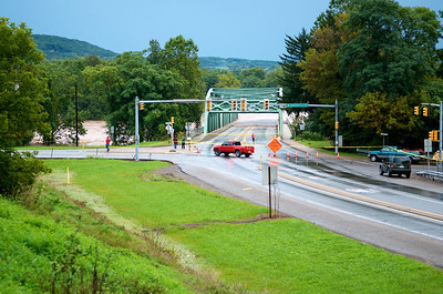 "Broad Street Bridge (the ""Green Bridge"") in Montoursville, PA with the Loyalsock Creek"