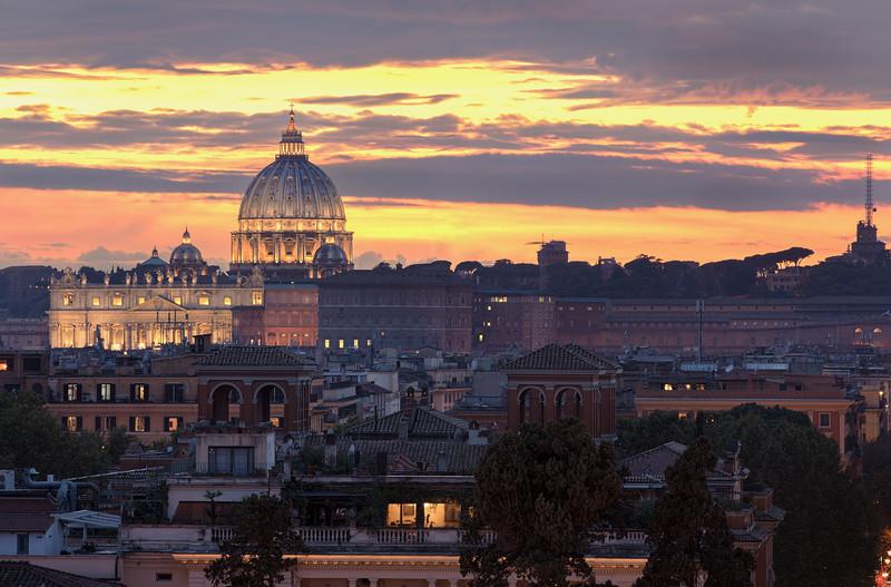 St Peter's Basilica During Autumn Twilight