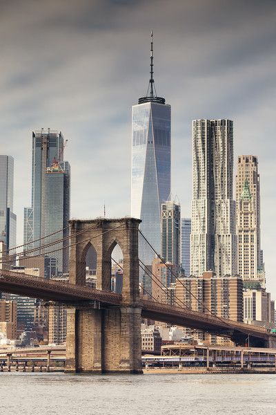 The Brooklyn Bridge & The One World Trade Centre in NYC