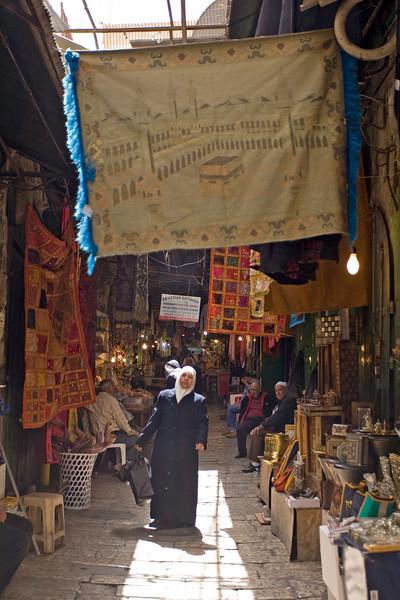 woman in hijab in Arab market Jerusalem