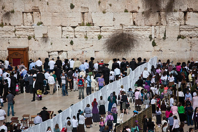 throngs at Western Wall