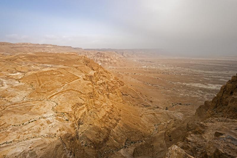 fog over Judaean desert looking down from Masada