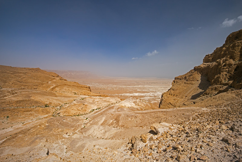 view of Dead Sea shore from bottom of Roman Ramp Masada