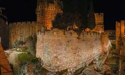 Citadel of David at night