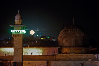Al Aqsa dome & minaret with rising moon