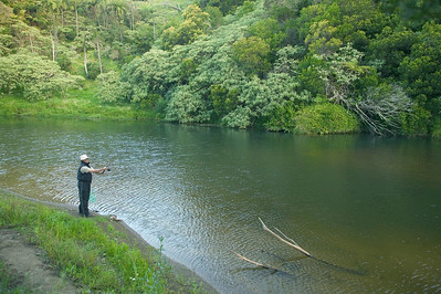 Stan casting on Waitangi River