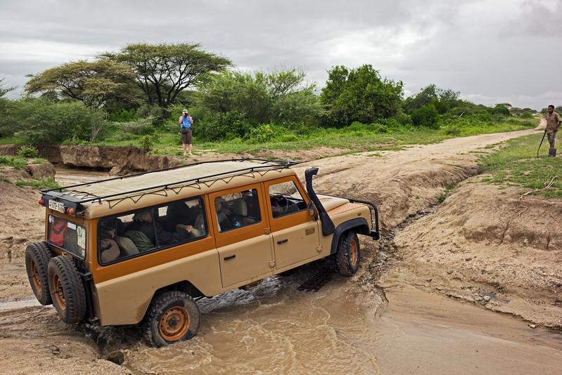 first safari vehicle fording river