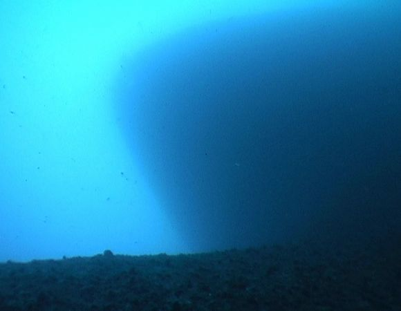 Looking up to bow from seabed