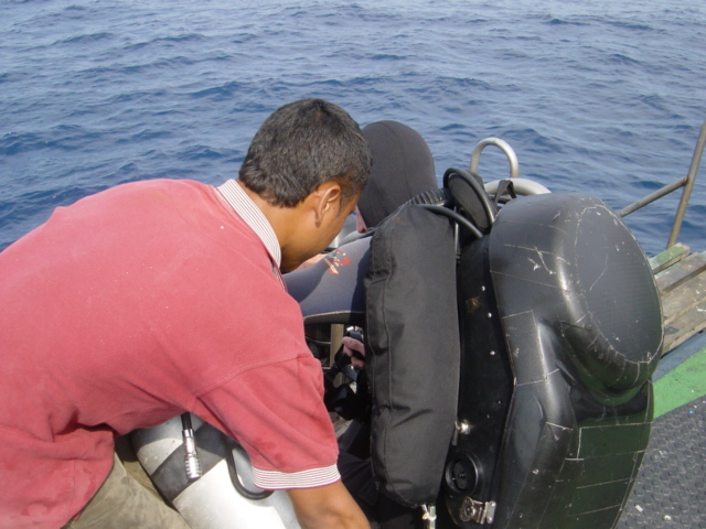 Preparing for dive on the HMS Repulse