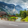 Amazing Lauterbrunnen town with high cliffs,Bernese Oberland,Swi