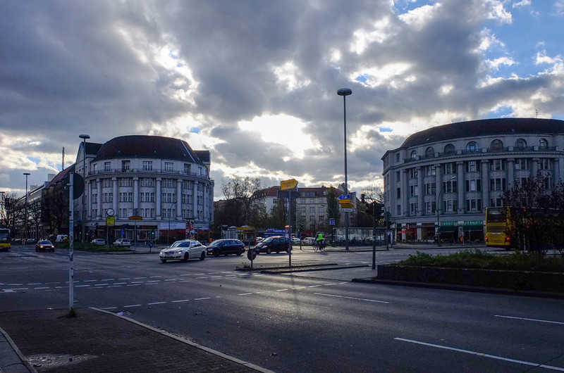 Clouds over Berlin intersection