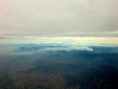 Smoke trail between Oaxaca and Mexico City