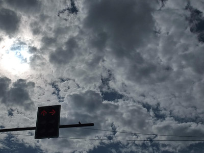 Traffic signal and clouds