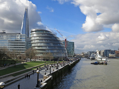 """South Bank & """"The Shard"""" seen from Tower Bridge  - 04/03/14."""
