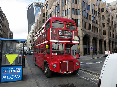 Heritage-fleet Routemaster RM1941 near Tower Hill with a Route 15 service from Trafalgar Square  - 07/03/14.