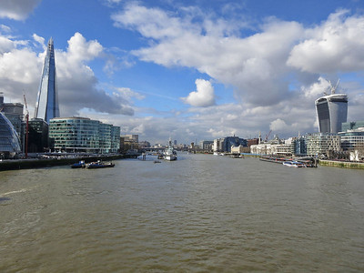 """""""The Shard"""" on the South side and the """"Walkie Talkie"""" on the North side of the Thames  - 04/03/14."""