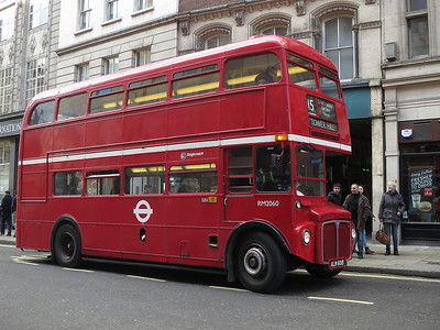 Heritage-fleet Routemaster RM2060 on Route 15 from Trafalgar Square to Tower Hill  - 07/03/14.