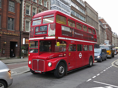 Heritage-fleet Routemaster RM1941 near Tower Hill with a Route 15 service from Trafalgar Square  - 06/03/14.