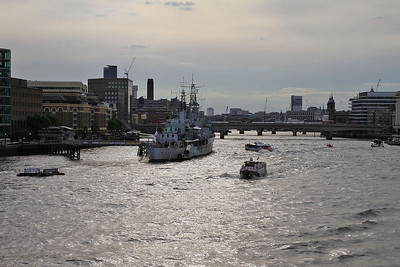 HMS Belfast viewed from Tower Bridge in the low sun - 06/07/16.