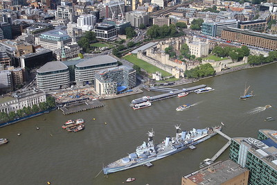 View of HMS Belfast and the Tower of London from atop the Shard - 06/07/16.