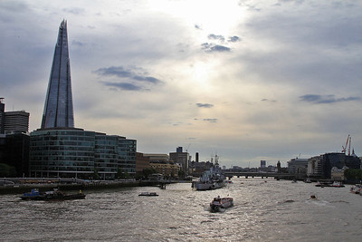 The Shard viewed from Tower Bridge in the low sun - 06/07/16.