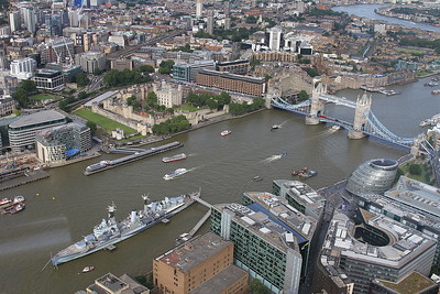 View of HMS Belfast, the Tower of London & Tower Bridge from atop the Shard - 06/07/16.