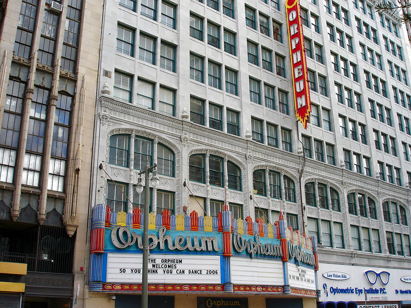 Opened in 1926, the Orpheum was the last operating movie palace in downtown LA closing in 2000.  It has since been restored and operates as a live venue.   It is a French Renaissance theater that seats 2190.