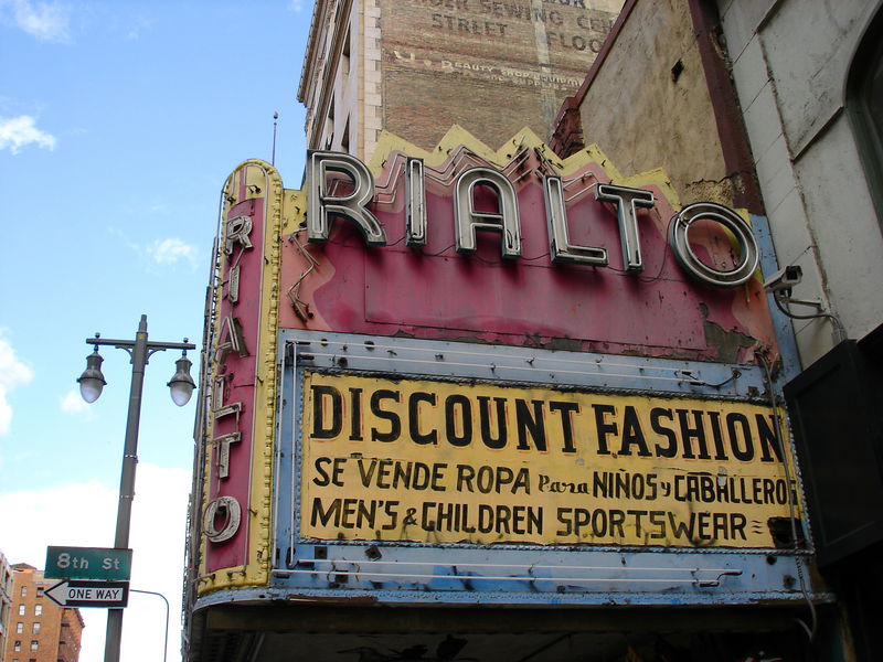 A closer look at the Rialto's marquee.