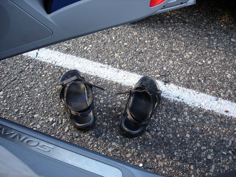 The end of the road for my smelly sandals: the Valleyfair parking lot.
