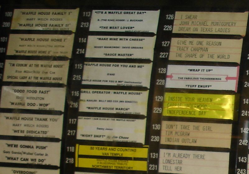 "The Waffle House jukebox - all Waffle Houses have AMI-ROWE jukeboxes - with a large number of selections devoted to Waffle House - if you'd like to enjoy some of these wonderful songs, go here:  <a href=""http://www.wafflehouse.com/musicmachine.htm"">http://www.wafflehouse.com/musicmachine.htm</a>"