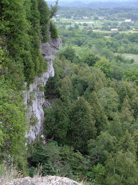 Climbers prepare to ascend the escarpment.