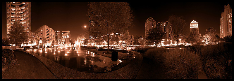 City Garden Night panorama, St. Louis, MO - sepia