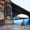 Eads Bridge overlooking the Captain Returns by Harry Weber
