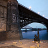 Eads Bridge overlooking the Captain Returns statue by Harry Weber