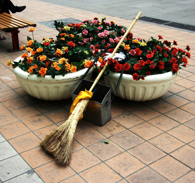 Street sweeper's tools in Beijing, China