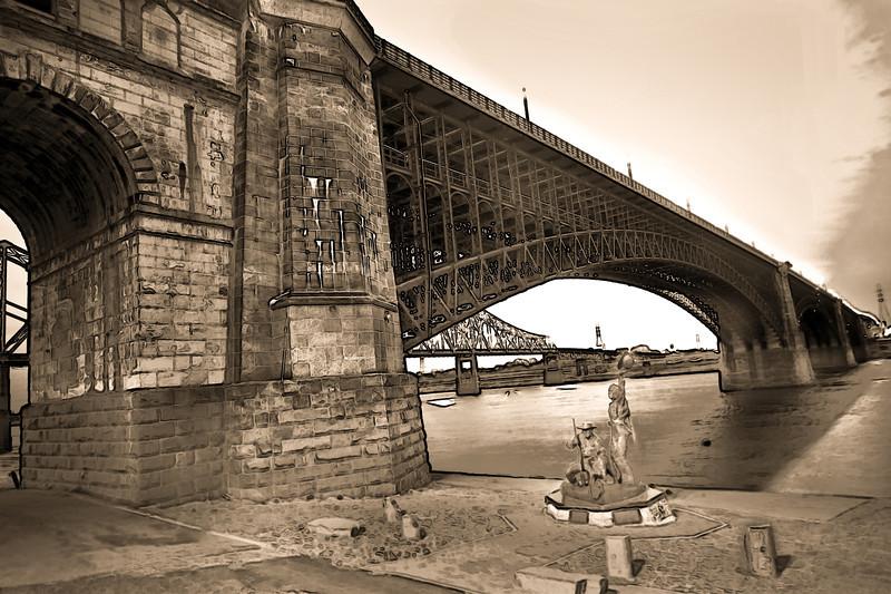 Eads' Bridge St. Louis - Sepia version