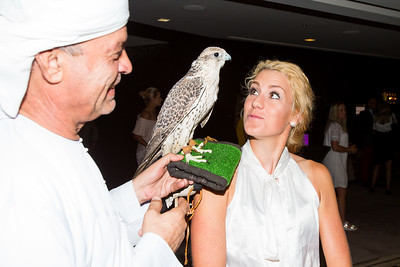 Olafia Kristinsdottir of Iceland with a falcon during the Pro-Am Pairing Party at the Marriot Downtown Abu Dhabi Ball Room